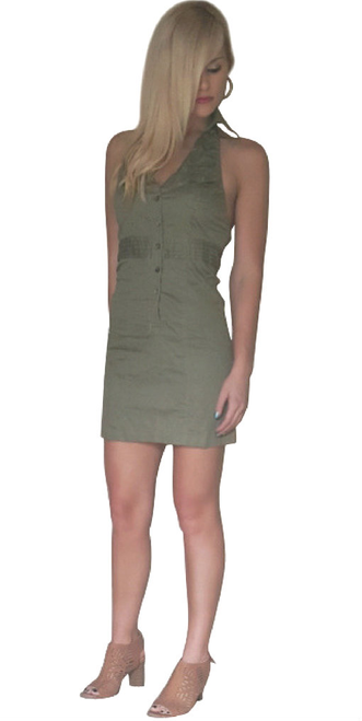 100% Cotton Halter Top Dress With Button Front And Stretch Back. Olive.