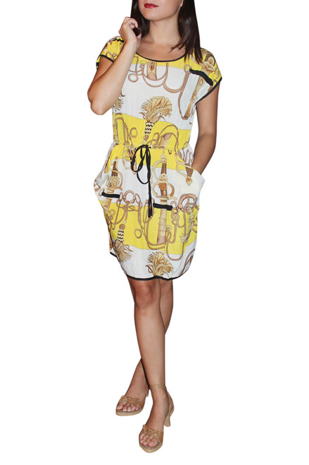 3% Silk Dress Is Fun & Light! Ties In The Middle. Yellow Printed Pattern.