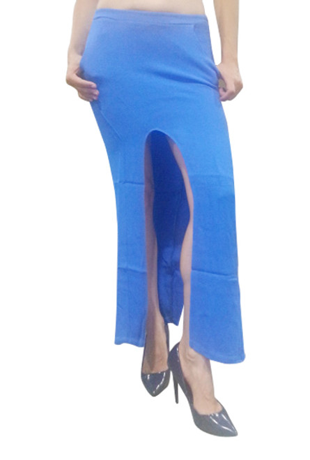 NORDSTROM'S QUALITY Long, Ankle Length Maxi Skirt with Slits. Solid Blue.