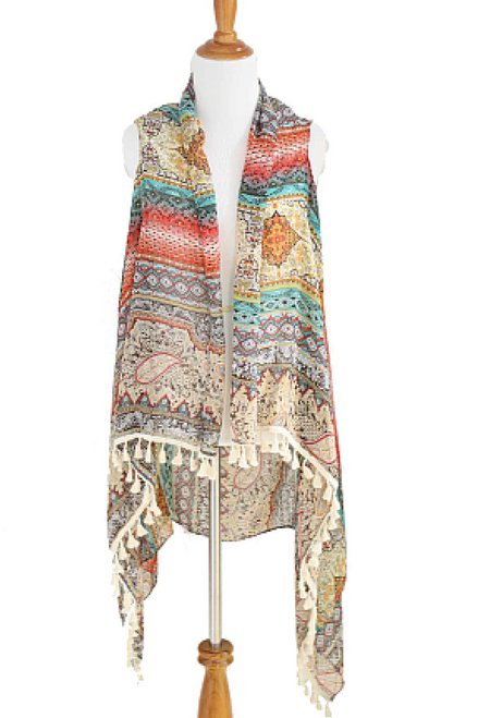 BOUTIQUE TASSEL SCARF CAN BE WORN AS A PONCHO OR CARDIGAN! EARTH TONE TRIBAL/AZTEC.