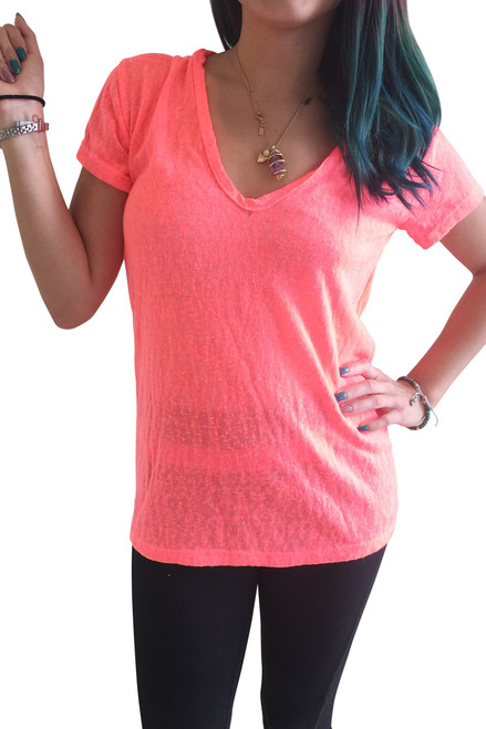 NORDSTROM'S QUALITY Coral V-Neck Top is Ultra-Light Mesh!