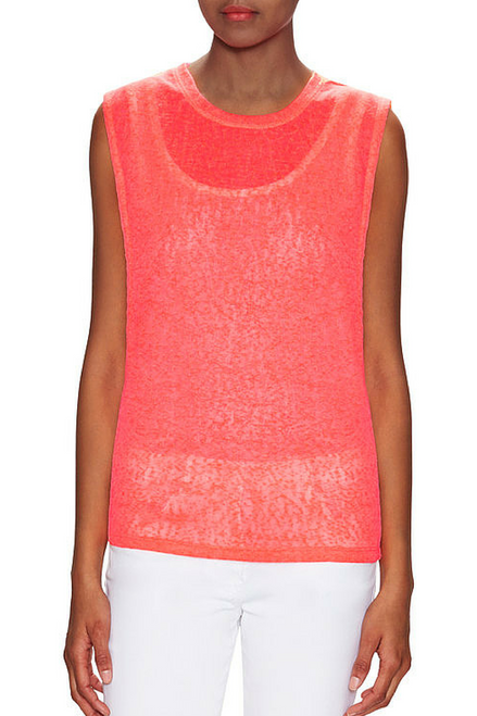 NORDSTROM'S QUALITY Neon Coral Muscle Tee is Ultra-Light Mesh!