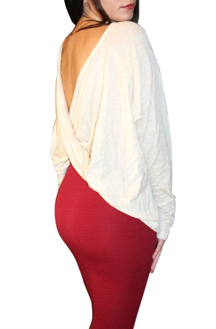 NORDSTROM'S QUALITY RAYON TOP with Open, Cowl Back! Oatmeal.