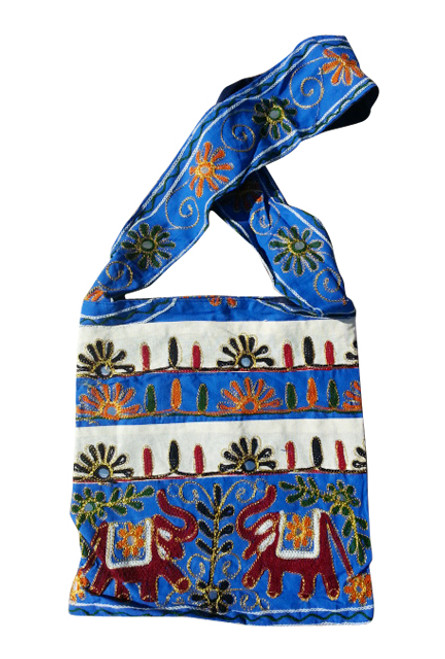 BOHO CHIC! Embroidered Nepali Cross-Body Bag! Blue & White Stripes & Elephant.