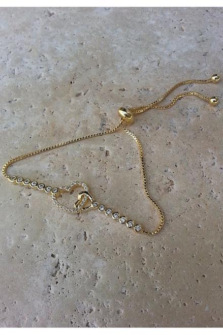 Inspired by MAJOR DESIGNER! High-End, Adjustable Heart Bracelet. Cubic Zirconia. Color: Gold.