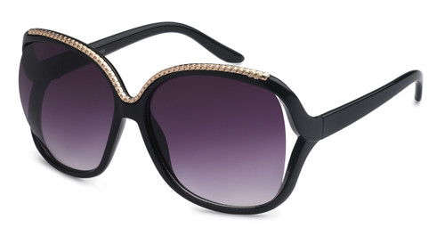 UV400 PROTECTION! HIGH QUALITY SUNGLASSES. METAL ACCENT FRAME. BLACK WITH PURPLE LENS.