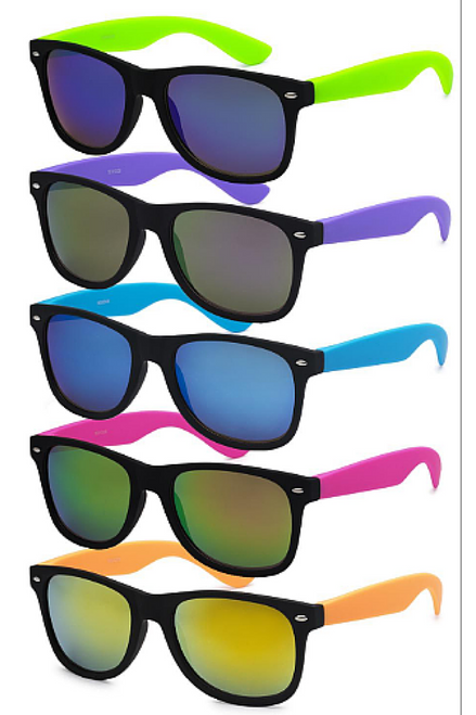 UV400! RAY BANS STYLE SUNGLASSES. MIRROR LENS. BLACK WITH NEON ORANGE.