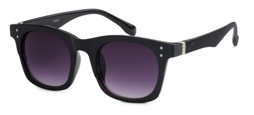 UV400 PROTECTION! HIGH QUALITY SUNGLASSES. RAY-BAN STYLE WITH RIBBED FRAMES. BLACK WITH PURPLE LENS.
