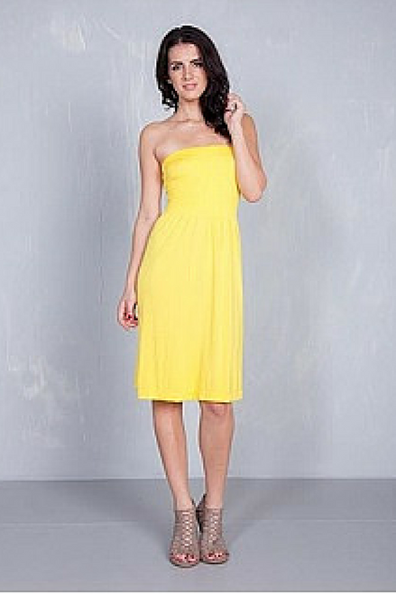 STRAPLESS DRESS FROM DOTS! HIGH QUALITY TRI-BLEND POLY, RAYON & SPANDEX. YELLOW.