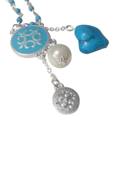Boho-Chic, Turquoise Style Stones Necklace & Earrings Set!