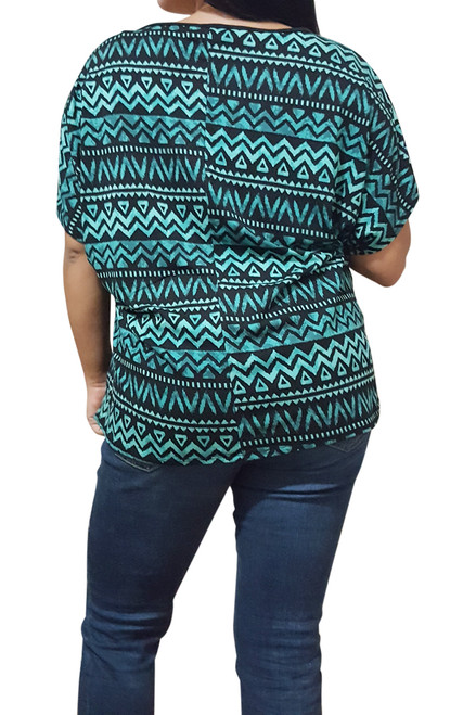 PLUS SIZE Black Top With Mint Tribal Print Back.
