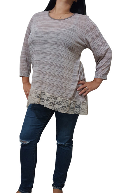 Plus Size Rayon Top With Lace Hem! Mocha Stripes.