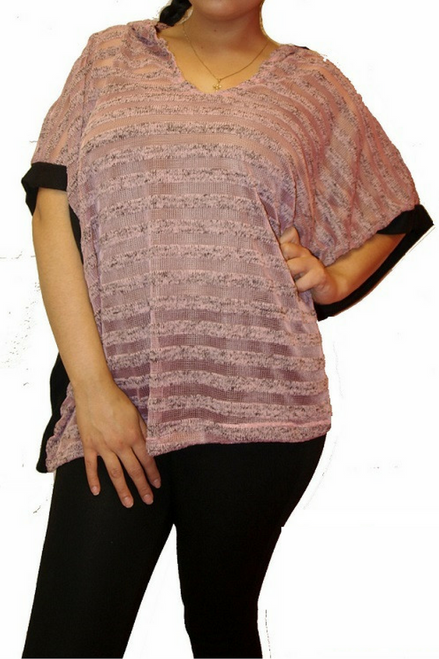 Plus Size Top With Hoodie! Pink with Subtle Black Stripes.