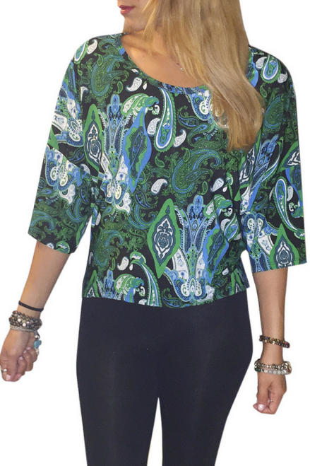 Tunic Top with Half Boho-Chic Sleeves! Green Paisley Print.