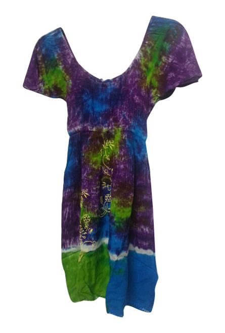 KIDS / GIRL'S PURPLE & GREEN TIE DYE DRESS!