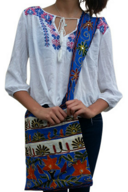 BOHO CHIC! Nepali Cross-Body Bag! Blue & White with Embroidered Flower.