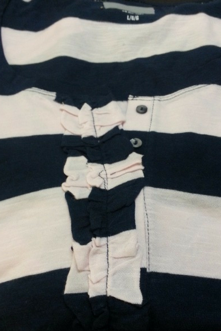 MAJOR BRAND COTTON & RAYON TOP WITH RUFFLE AND BUTTONS! BLUSH PINK/BLUE STRIPES.  OLD NAVY (Tags are Crossed Out).