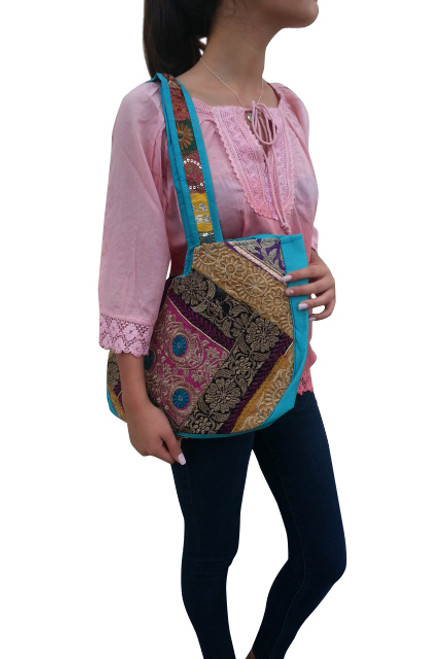 BOHO CHIC! Nepali Oval Bag with Lace & Beads! Turquoise.
