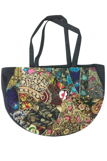 BOHO CHIC! Nepali Oval Bag with Quilted Pattern! Silver.