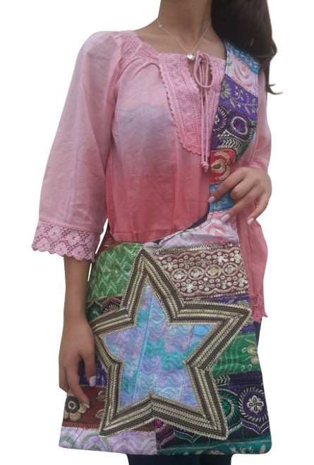 BOHO CHIC! Nepali Oval Bag with Quilted Pattern! MultiColored with Star.