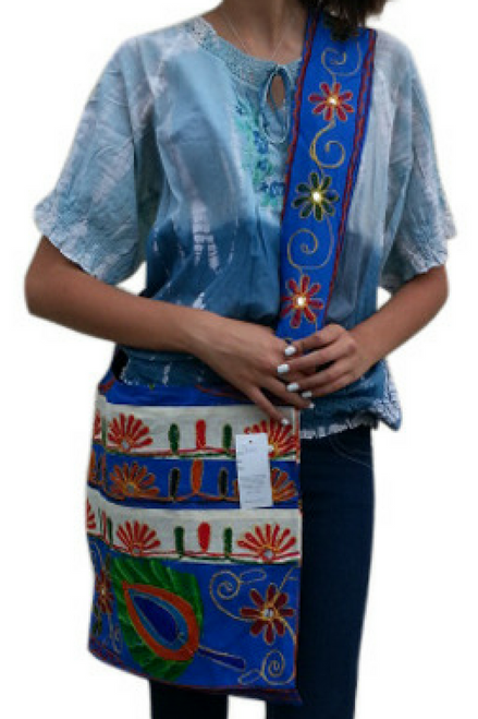 BOHO CHIC! Nepali Cross-Body Bag! Blue & White with Embroidered Peacock Feather.