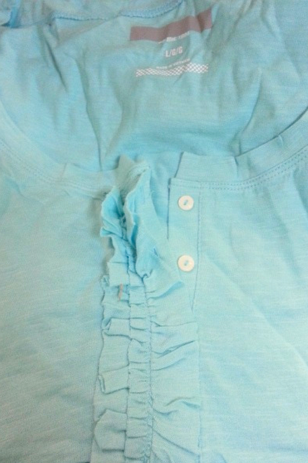 MAJOR BRAND COTTON & RAYON TOP WITH RUFFLE AND BUTTONS! POWDER BLUE.