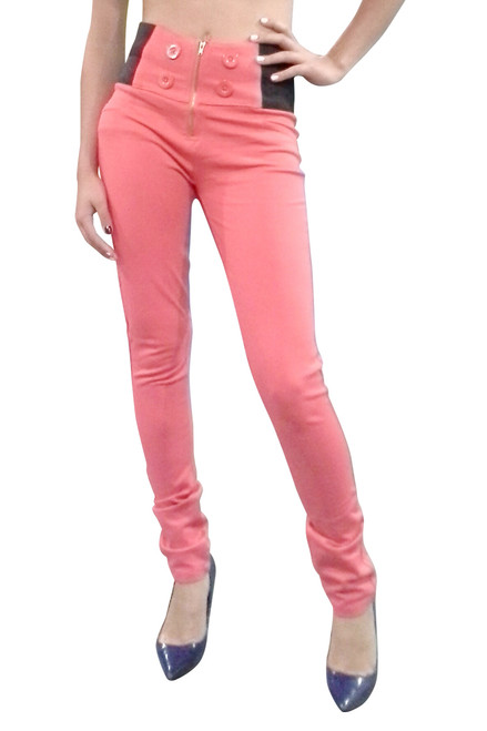 Coral Pink Skinny Jeans / Jeggings with Buttons & High Waist from CHOCOLATE USA!