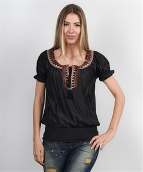 Boho-Chic Embroidered Top is 72% Rayon! Black.