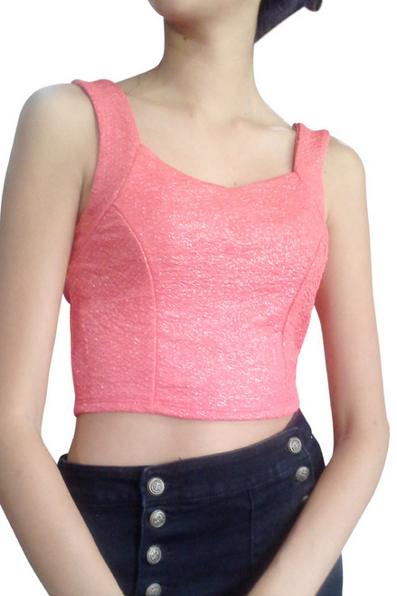 Coral Crop Top Bustier with Subtle Shimmer!