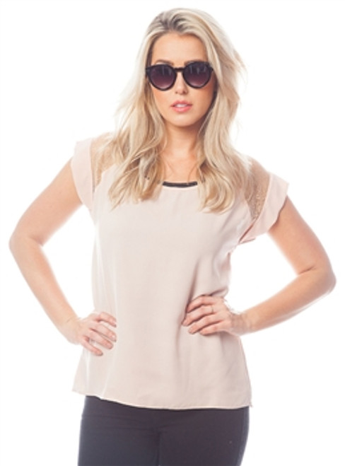 Blush Top with Sheer Accent Panels on Sleeves!