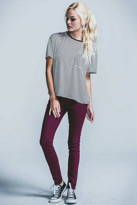 Stretch Pants / Jeggings. Burgundy Red Skinny Jeans with Faux Front Pockets.