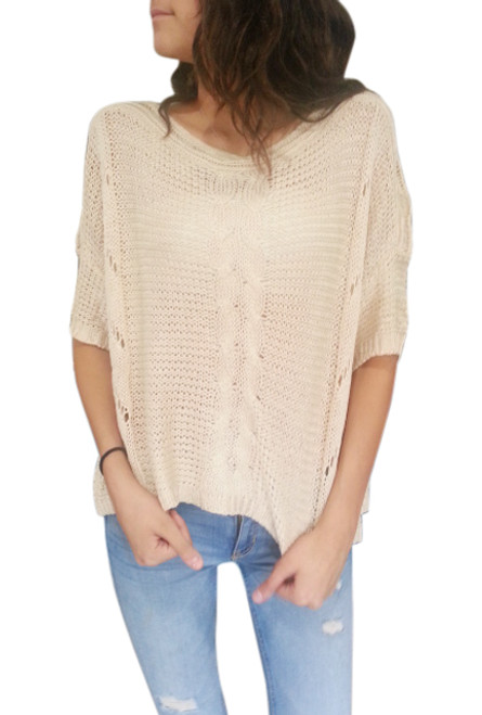 Cotton & Wool Boutique Crochet Sweater with Dolman Sleeves! Tan.