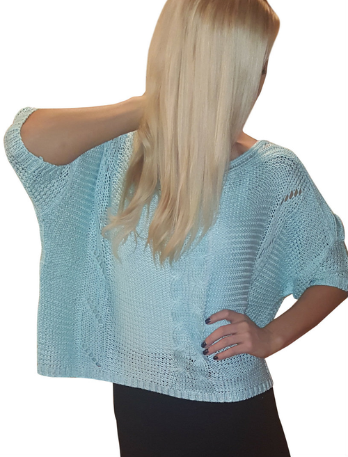 Cotton & Wool Boutique Crochet Sweater with Dolman Sleeves! Blue Mint.
