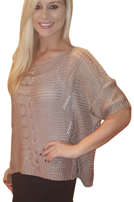 Cotton & Wool Boutique Crochet Sweater with Dolman Sleeves! Brown.
