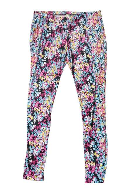 PLUS SIZE COTTON LEGGINGS. BLACK WITH PINK FLORAL PRINT.