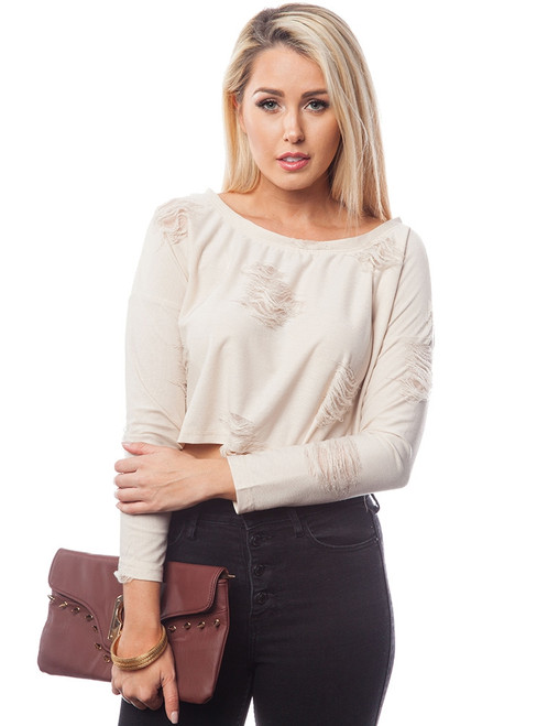 Cream Long Sleeve Top with Distressed Accents!