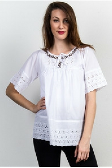Boho White Peasant Top with Crochet Eyelets and Trims.