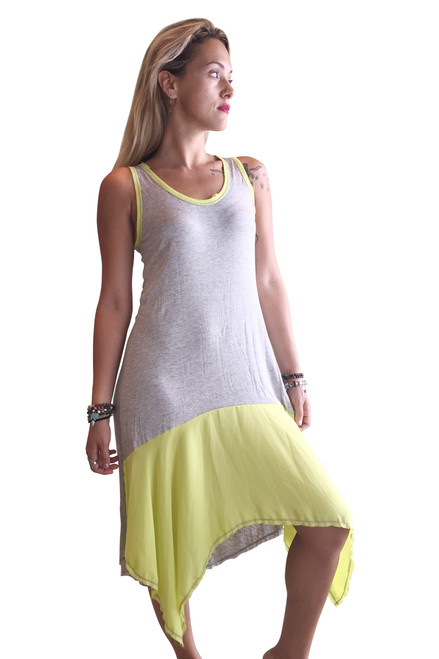 95% Rayon Grey & Lime Long Dress With Distressed Neckline!