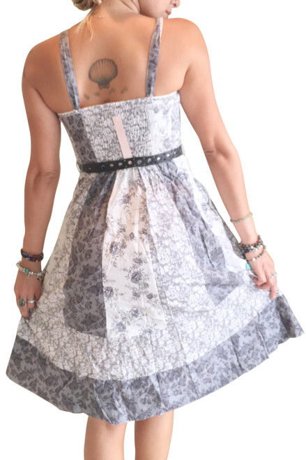 100% Cotton Belted Peasant Dress! Grey Paisley.