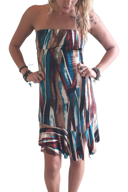 Brown & Blue Silky Strapless Dress!