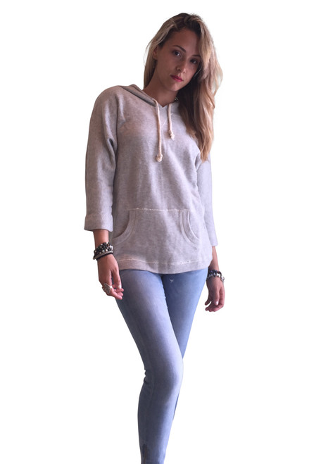 ** FLASH SALE ** 100% COTTON CLASSIC HEATHER GREY HOODIE WITH FRONT POCKET!