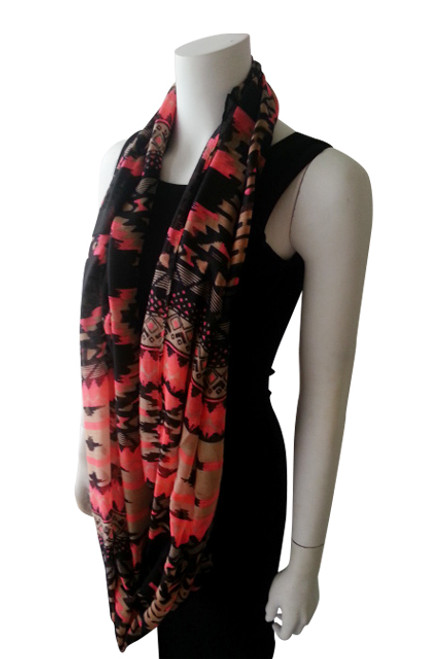 TRIBAL PRINT INFINITY SCARF IS CLASSY & SOPHISTICATED! PINK.