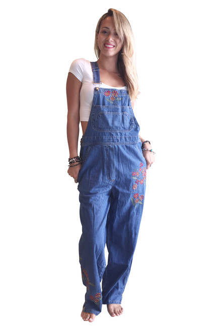 100% Cotton Made In India. Long Overalls With Retro Embroidered Flowers!