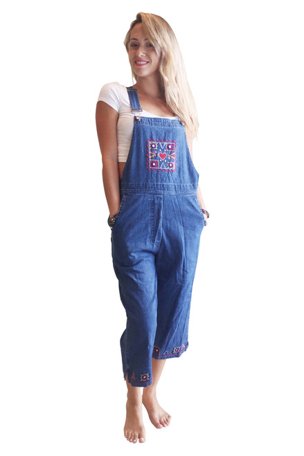 100% Cotton Made In India. Capri Overalls With Retro Embroidered Flowers!