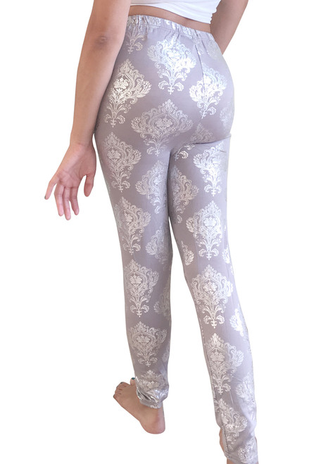 65% Cotton Long Leggings Heather Grey With Silver Paisley.