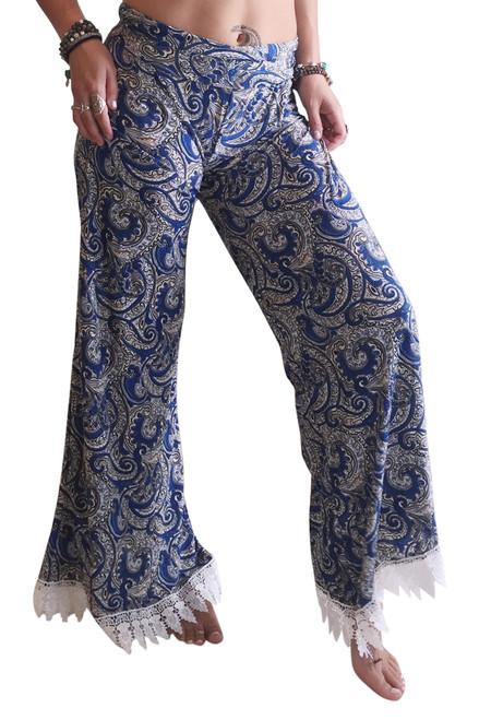 Long, Hi-Waist Palazzo Pants With Lace Trim Blue Paisley.