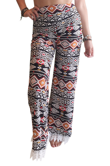 Long, Hi-Waist Palazzo Pants With Lace Trim Black & Rust Aztec.