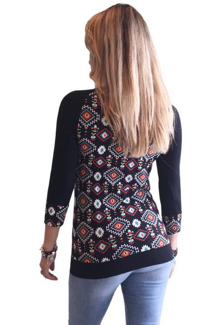 Black Aztec Pattern 3/4 Sleeve Top!