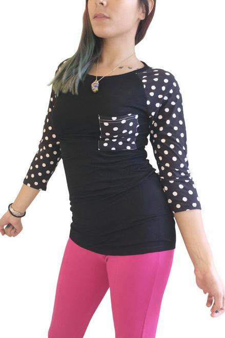 Black & White Polka Dot Top With 3/4 Sleeve.