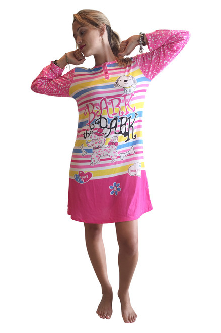 "65% Cotton Night Dress! Pajama Sleep Shirt. Pink With Two Buttons. Doggies ""Bark the Bark!"""